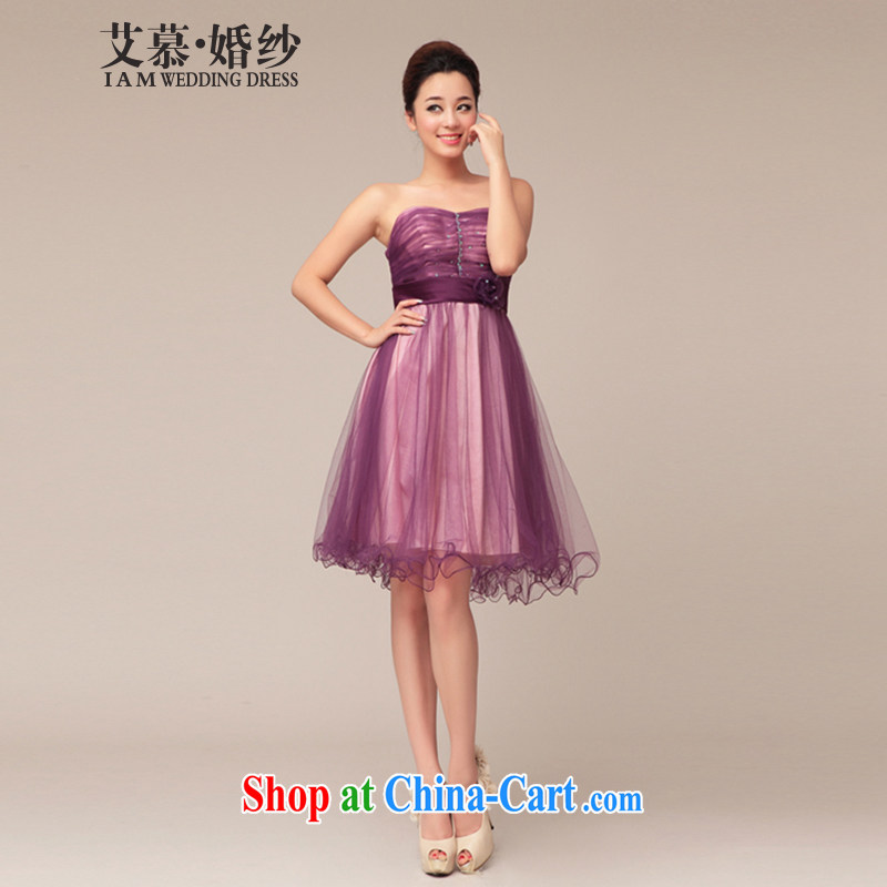 With the 2015 new wedding dresses elegant violet wiped his chest, short marriage bridal bridesmaid will live at Purple XL