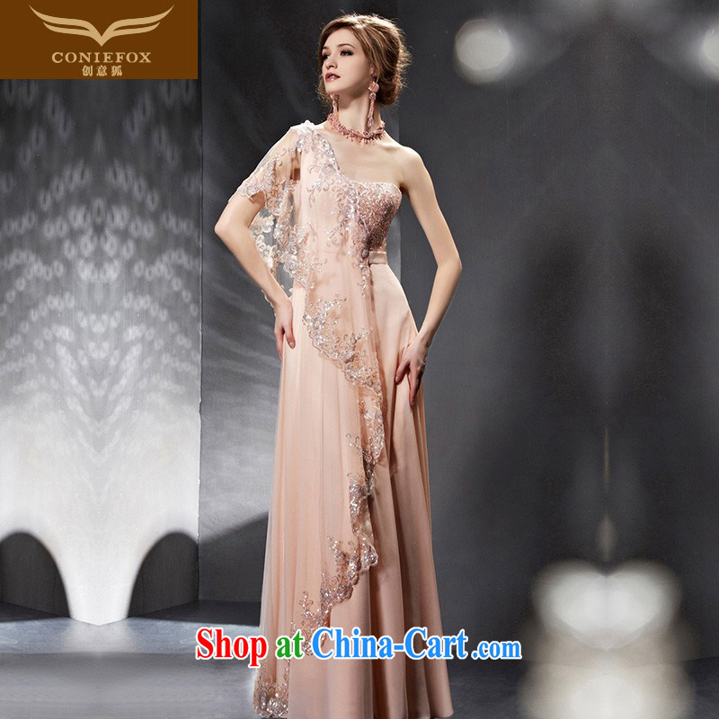 Creative Fox Evening Dress 2015 new pink long bridal gown single shoulder bridesmaid evening dress dress show 30,668 dresses picture color L