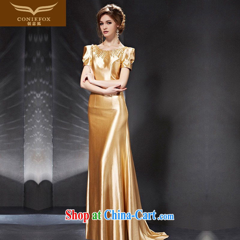 Creative Fox Evening Dress 2015 new bride toast service banquet dress luxury gold long wedding dress annual dress presided over 30,685 picture color XXL
