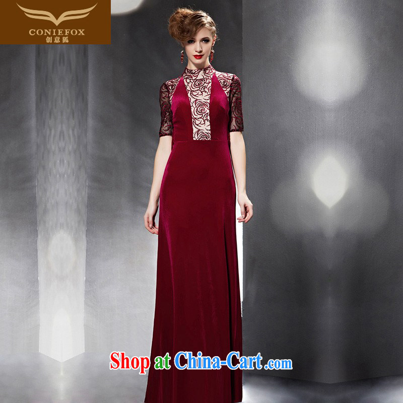 Creative Fox Evening Dress 2015 New Red bridal toast service banquet dress beauty long chaired annual dress evening dress female 30,691 picture color XXL