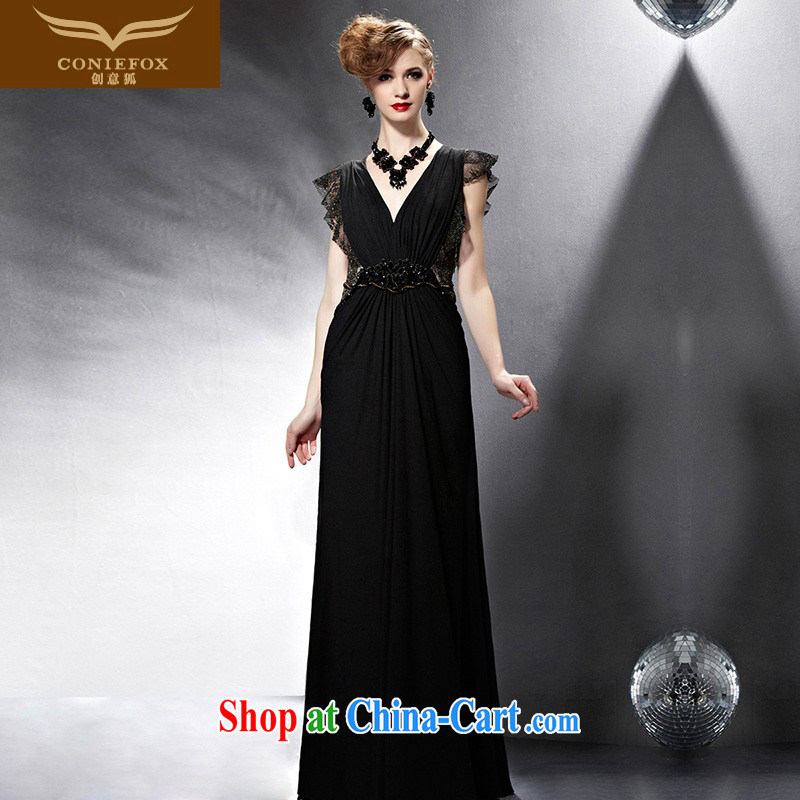 Creative Fox Evening Dress 2015 new dress black toast serving long beauty dress dress evening dress sexy V collar dress long skirt 81,900 picture color XXL