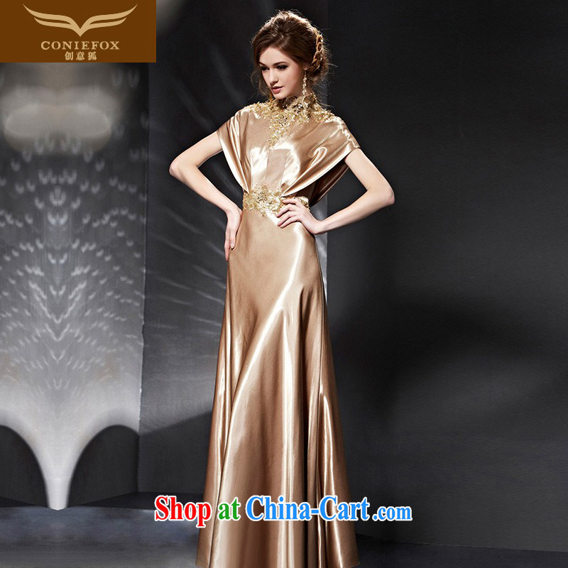 Creative Fox Evening Dress 2015 new graphics thin beauty evening dress dress luxury gold dress banquet toast serving girls long dress 82,035 picture color XXL