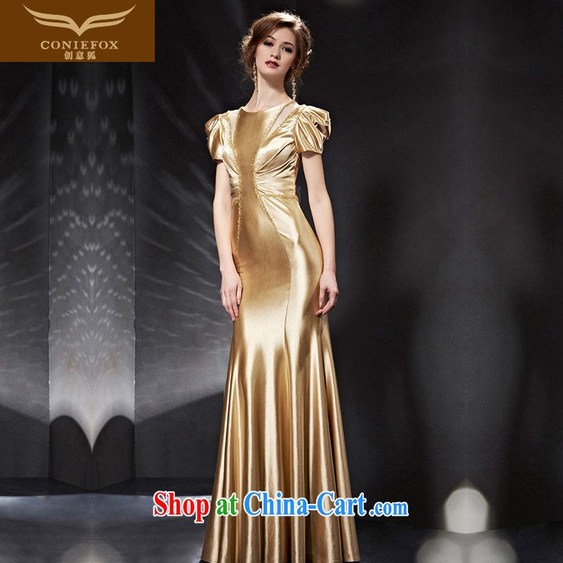 Creative Fox Evening Dress 2015 new luxury gold evening dress banquet toast serving long cultivating bridesmaid dress high waist dress 82,053 picture color XXL