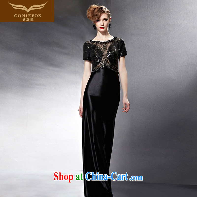 Creative Fox Evening Dress 2015 new black long gown dress uniform toast evening dress dress the annual dress long skirt 82,059 picture color M