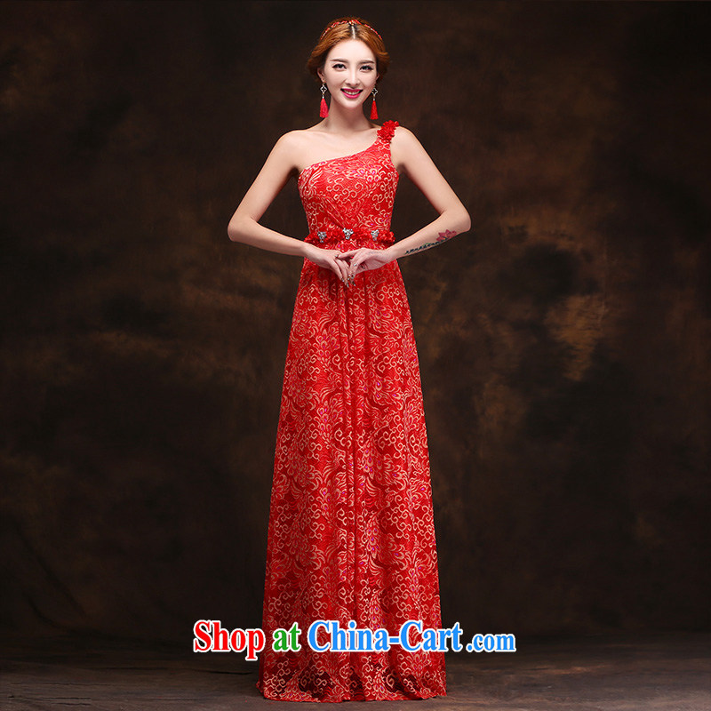 Click shoulder crowsfoot lace Evening Dress new marriages served toast long crowsfoot cultivating Toastmaster of the dress tailored advisory service