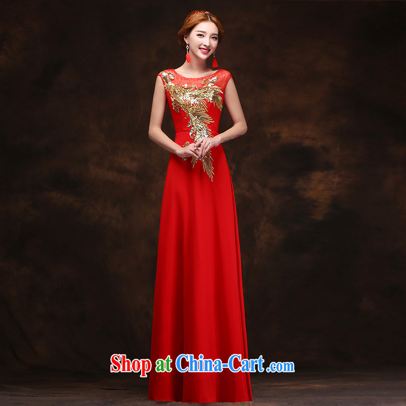 bridal dresses 2015 New red long women Evening Dress evening dress wedding toast clothing evening dress L