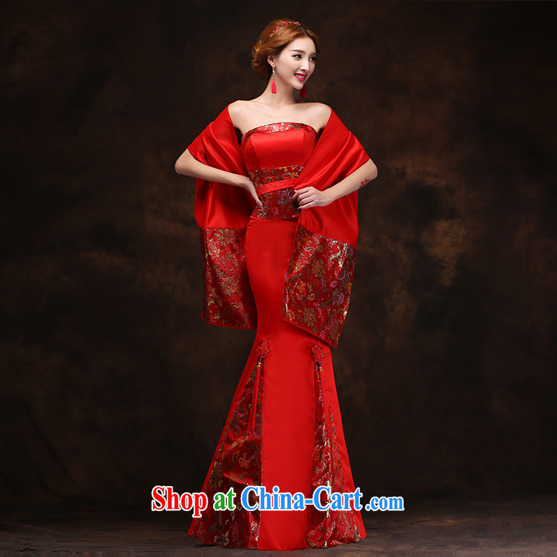According to Lin Sa 2015 new autumn and winter clothing toast long red with shawl wedding wedding dress bridal dresses Evening Dress tailored advisory service