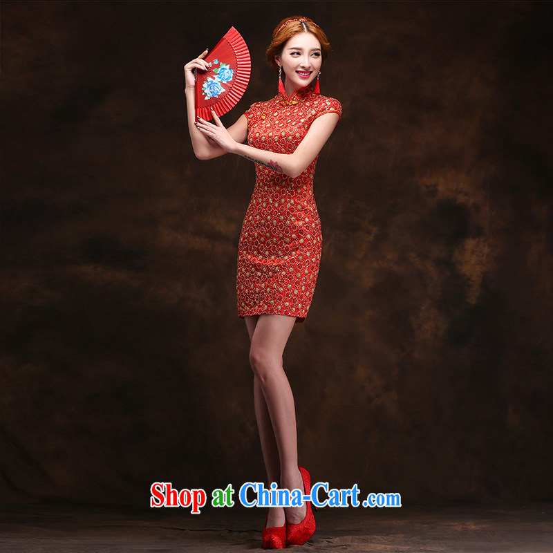 2015 toast Service Bridal wedding dress improved retro beauty lace cheongsam red short L