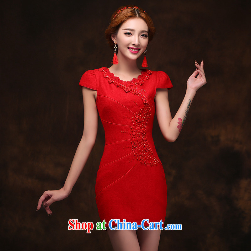 2015 new stylish hair dresses? bride toast clothing retro improved marriage dress back doors XL dresses
