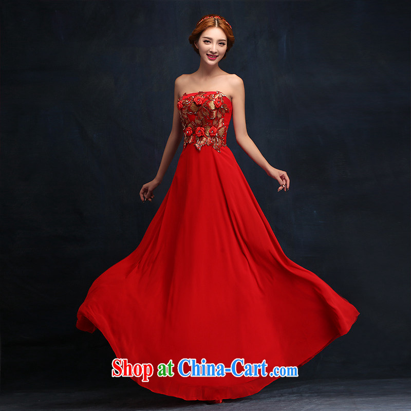 2015 new stylish flowers Mary Magdalene Beauty Chest dress bridal wedding dress red toast serving long XL