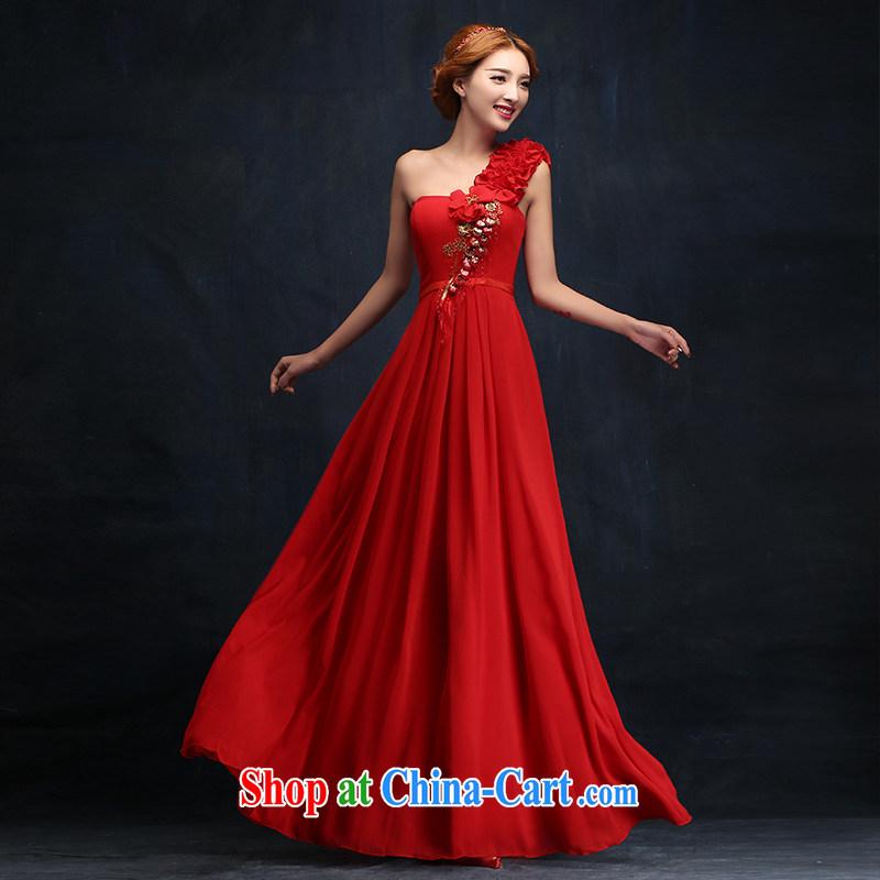 Bridal red bows service 2015 new long evening dress stylish wedding single shoulder wedding winter wedding dresses XL
