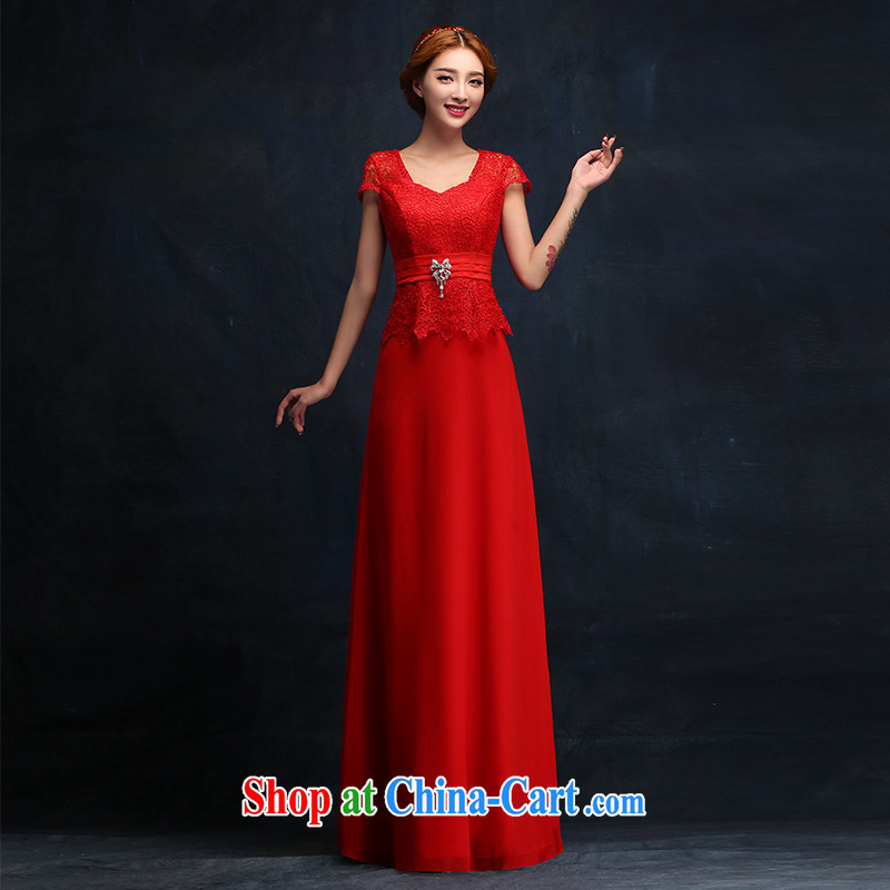 Toasting Service Bridal style 2015 red dress long crowsfoot cultivating a field shoulder bridal wedding dress XL