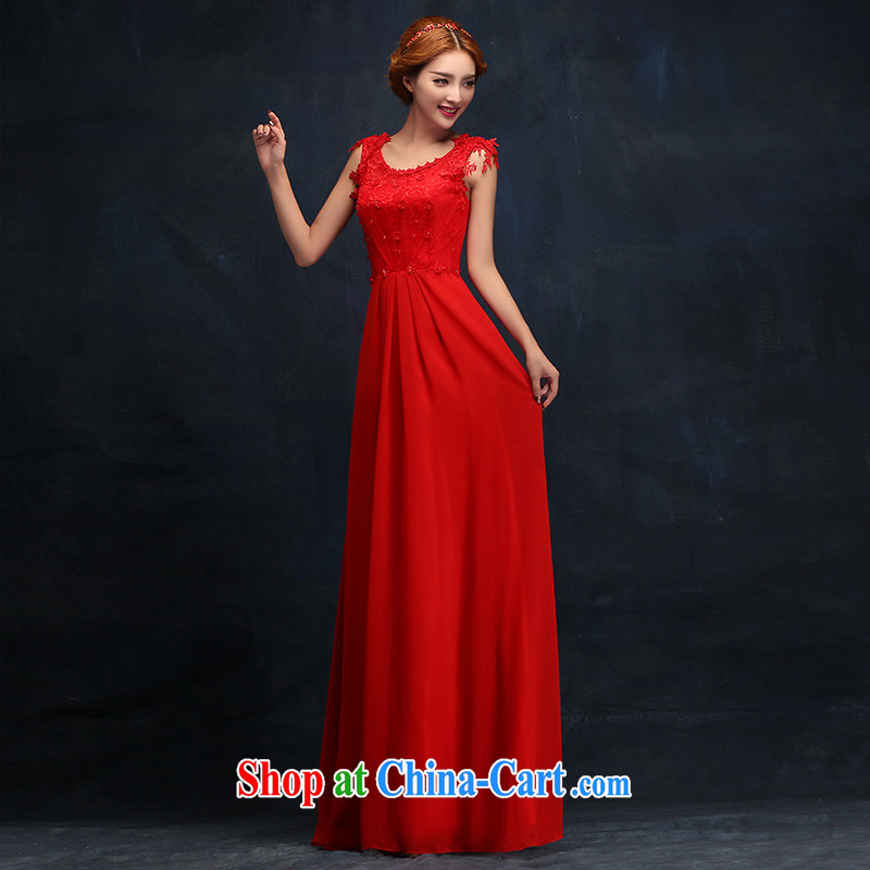 wedding dresses new 2015 long married women bows dress red autumn and winter fashion toast serving female XL