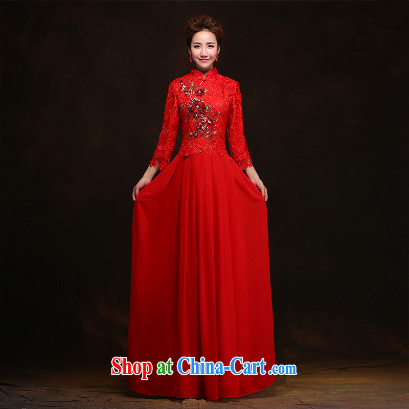 According to Lin Elizabeth toast winter clothes Bridal Fashion 2015 New Red wedding dresses fall long-sleeved Chinese Dress long cultivating XL