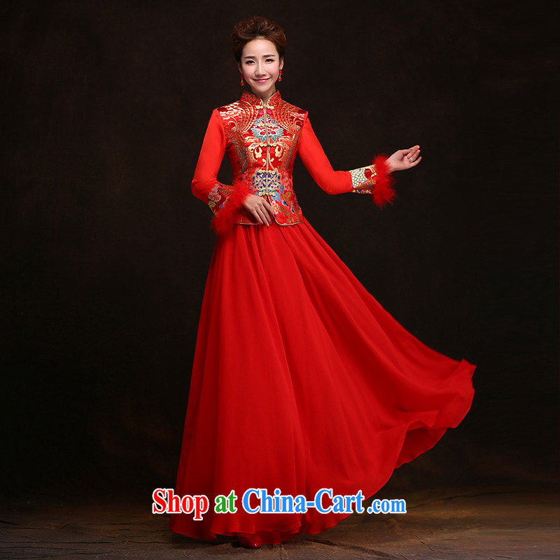 Winter toast Service Bridal Fashion red 2015 new wedding dresses autumn and long-sleeved gown Sau Wo service use phoenix XL