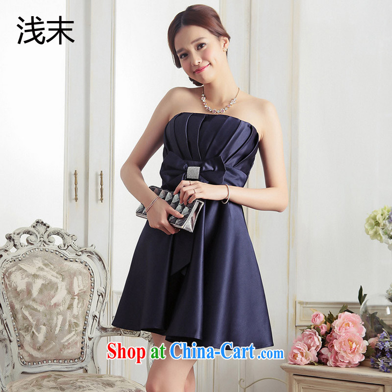 Light (at the end QIAN MO) sweet Princess Mary Magdalene wrinkled chest parquet drill bow tie small dress A-dress skirts dresses 3376 dark blue are code