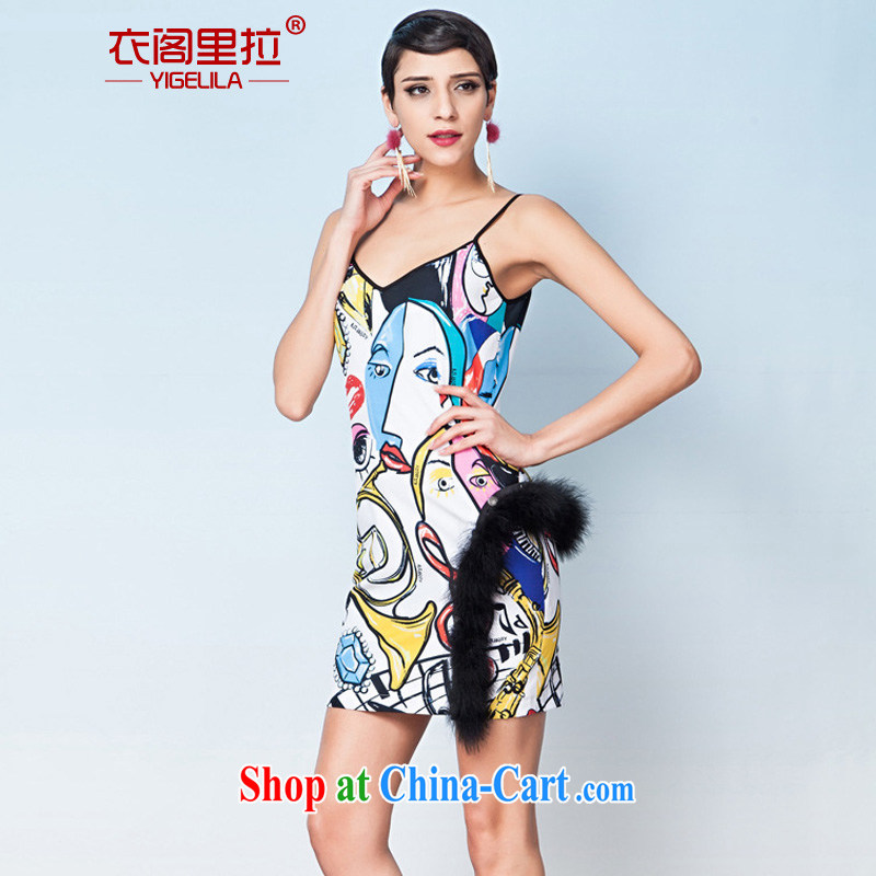 Yi Ge lire name Yuan beauty aura video thin straps business dress dresses silhouette stamp 6598 L