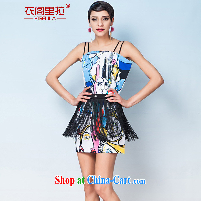 Yi Ge Theo-Ben Gurirab Street, Retro silhouette stamp duty straps flow Su ball dress dresses (with flow Su) silhouette stamp 6609 L