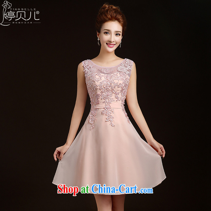 Ting Beverly bridesmaid dress 2015 new spring short marriages stylish bows dress sister dress evening dress beauty wedding dresses pink S