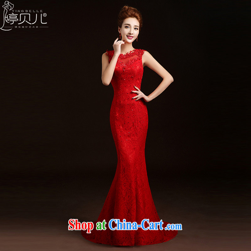 Ting Beverly toast clothing fashion 2015 New Spring Summer bridal wedding dresses at Merlion red long dress female Red M
