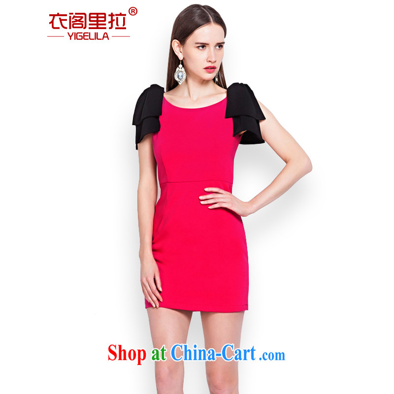 Yi Ge Theo-Ben Gurirab of aristocratic ladies bowtie knocked color stitching back exposed dress back doors toast together serve small dress skirt red 6576 L