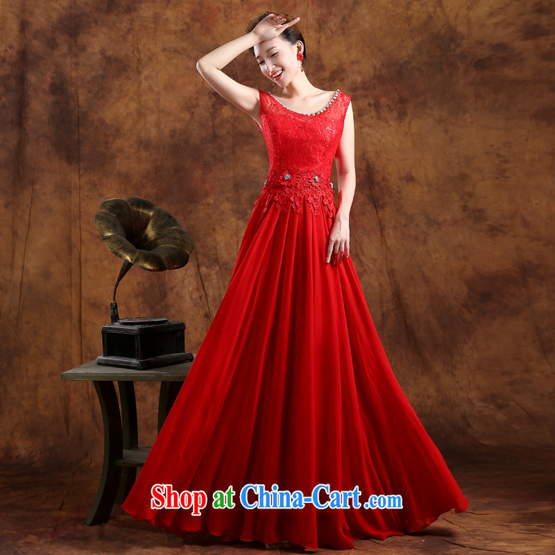 Sophie HIV than toasting Service Bridal Fashion 2015 new wedding dresses summer Korean bows serving double-shoulder lace long wedding dress red XXL