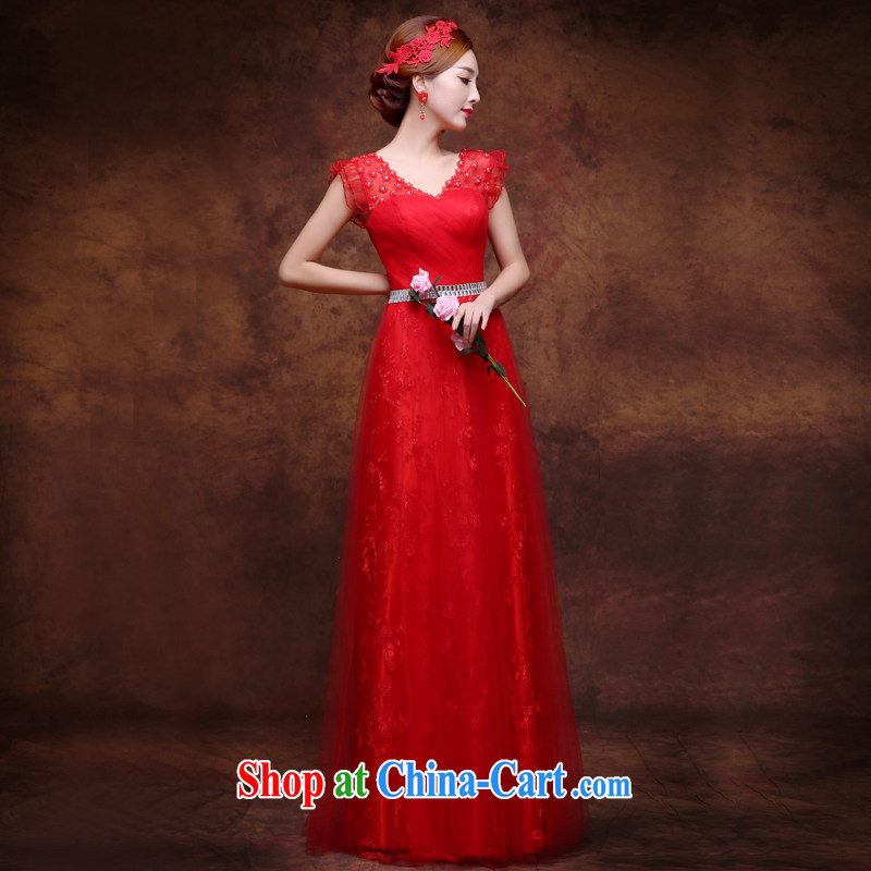 Sophie HIV than 2015 summer bridal toast serving double-shoulder wedding dress long red V style binding with cultivating the code inserts drill dress female Red L