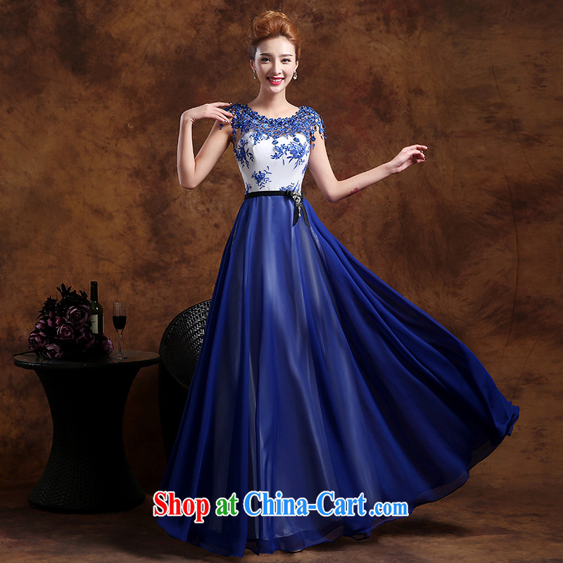 Donald Rumsfeld, the more than 2015 new summer wedding bridal gown blue long evening dress uniform toast show banquet dance graduation dress blue XXL