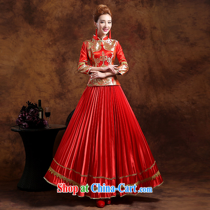 Sophie HIV than toasting Service Bridal Fashion 2015 new summer wedding dresses long sleeved bridal dresses red-su Wo service Phoenix also served toast red XXL
