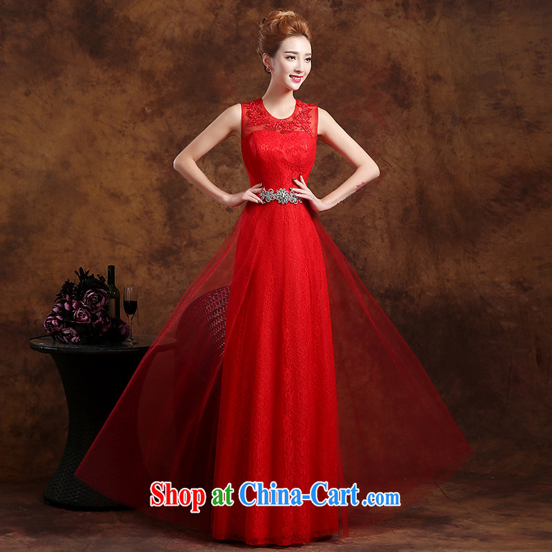 Sophie HIV than toasting service bridal gown style 2015 new summer Korean Red double-shoulder lace bows serving long marriage dress female Red XXL