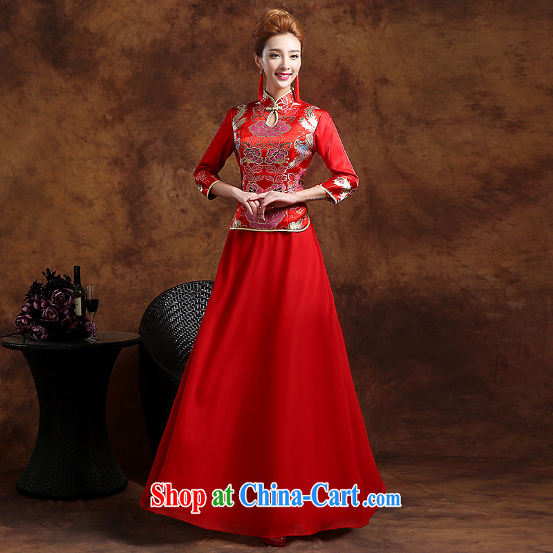 Sophie HIV than new 2015 summer wedding dresses bridal wedding dresses red long toast clothing dresses retro improved cheongsam dress snow woven skirt red XXL