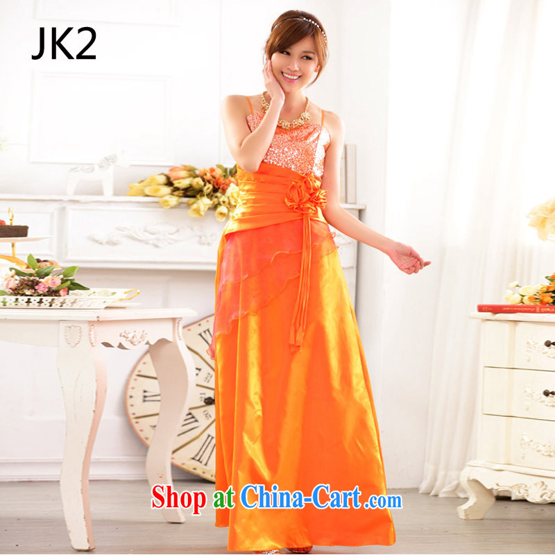 European and American Standard terrace shoulder evening beauty moderator evening dress, show the code gown JK 2 9717 orange XXXL
