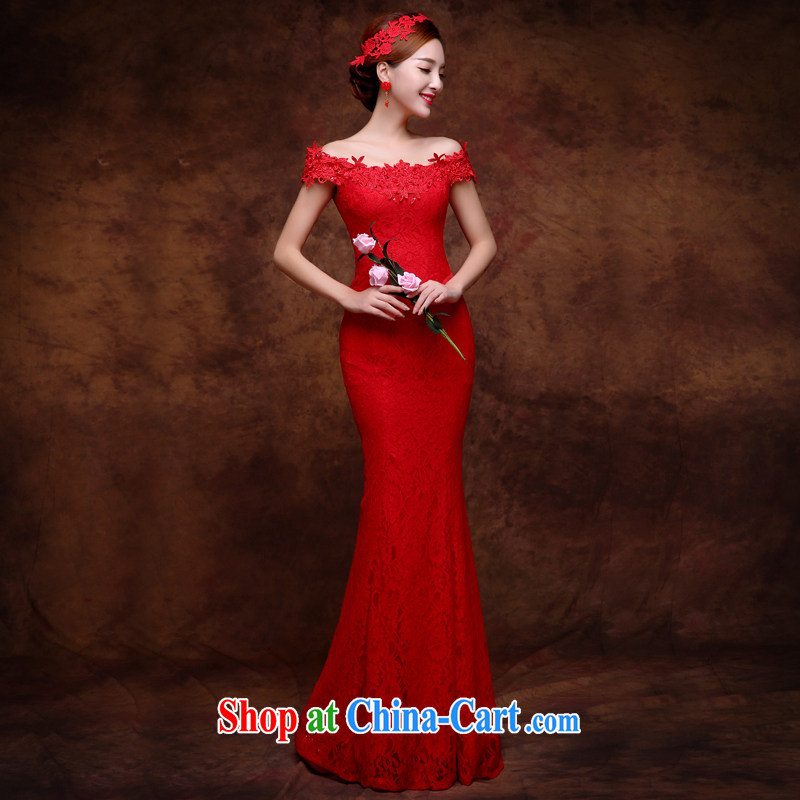 Sophie HIV than toasting service bridal gown style 2015 new summer wedding dresses red lace bows a field shoulder crowsfoot long marriage dress red XXL