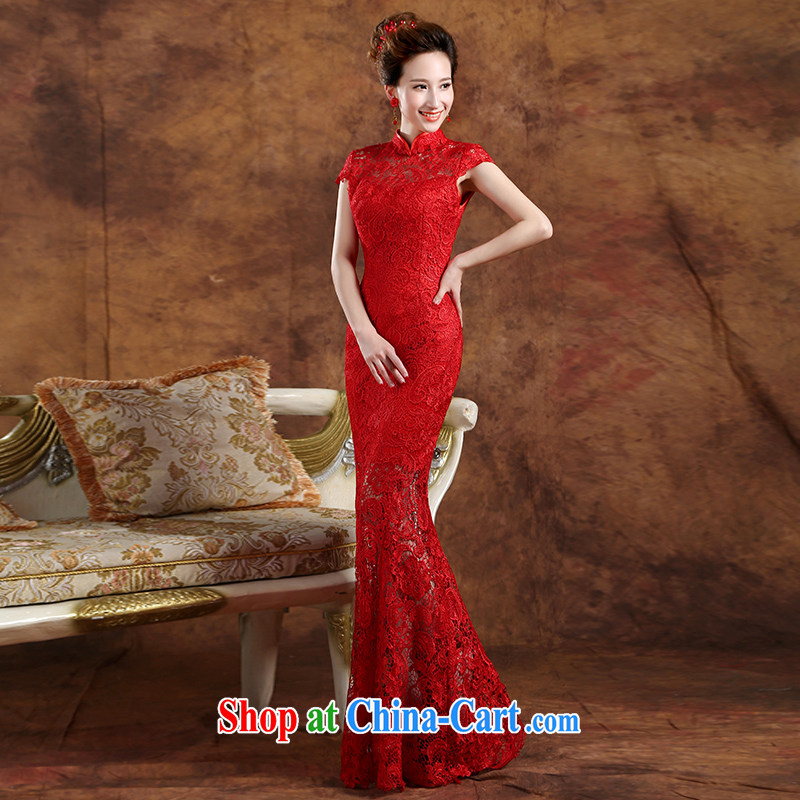 The Vanessa toast service 2015 new Korean version at Merlion dress bridal wedding dress red lace long dress zipper beauty banquet dress summer female Red XXL (the necklace earrings)