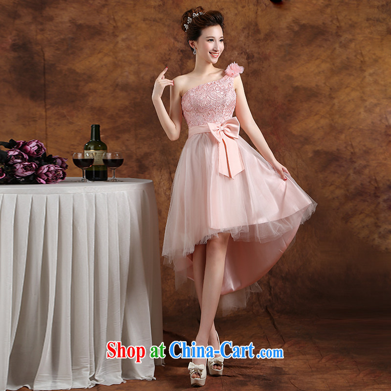The Vanessa bridesmaid clothing summer 2015 new wedding bridesmaid clothing stylish evening dress pink lace dress beauty skirt tied with short, accompanied by his wife who graduated from ball pink L (a bare shoulders chest micro terrace sexy)