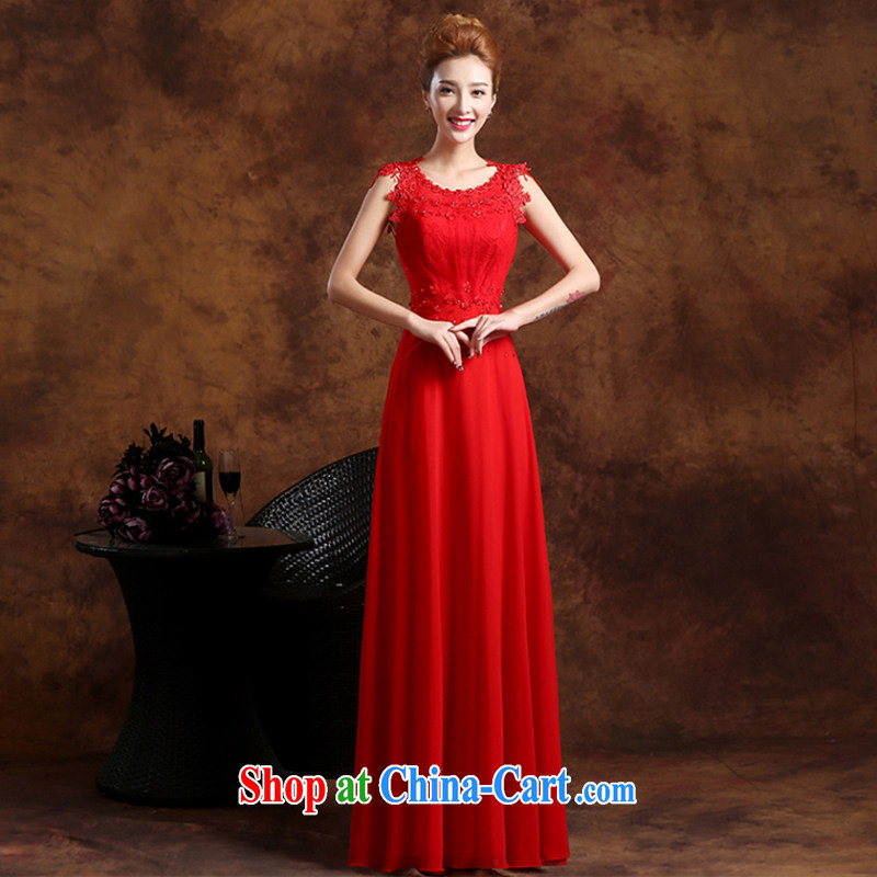 The Vanessa toast Service Bridal Fashion summer 2015 new bride wedding dress red long alignment to dress zipper cultivating shoulders banquet dress red L (red lace elegant and comfortable)