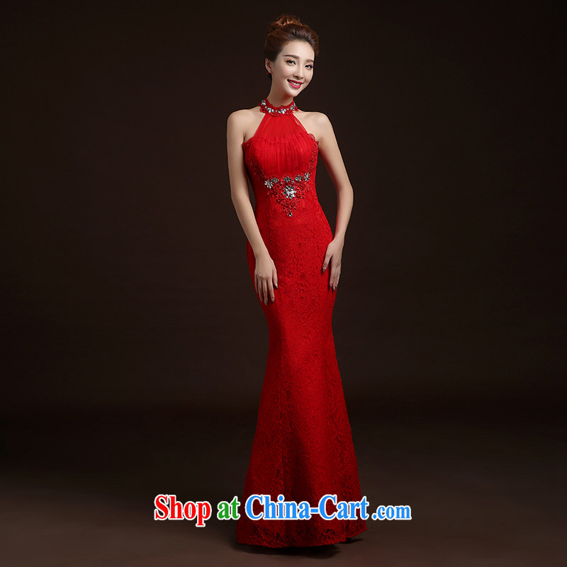 The Vanessa summer 2015 new marriages wedding dresses red toast clothing lace dress high waist zip beauty banquet dress long crowsfoot dress red M (high lace elegant and comfortable)