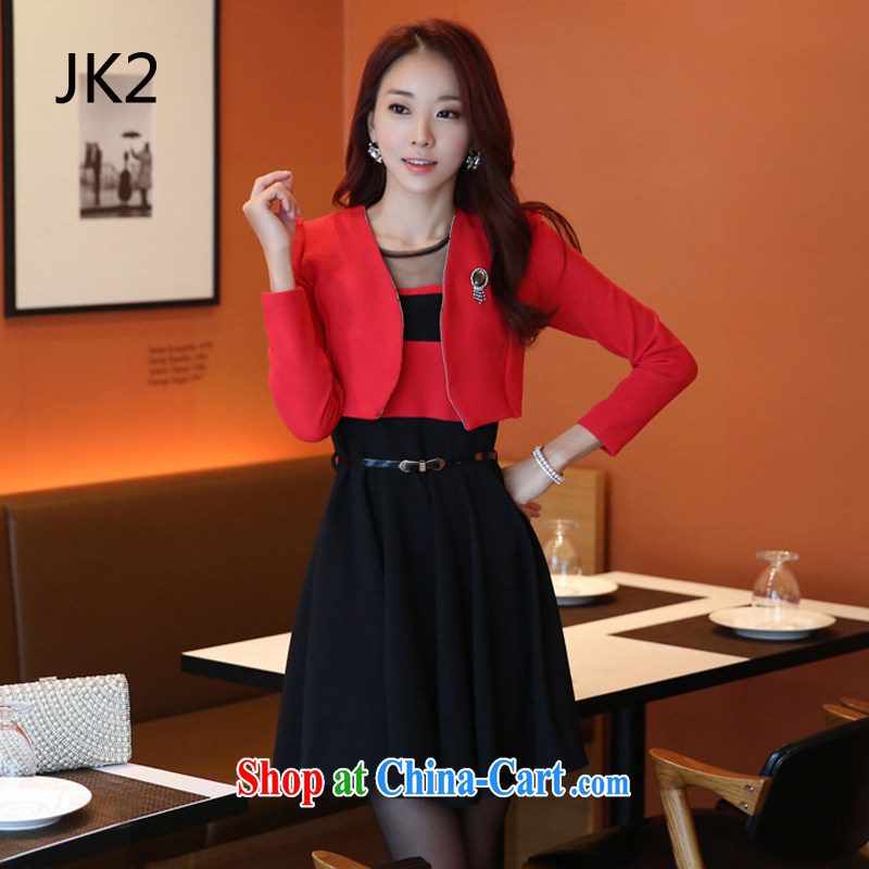Pure the aging skirt long-sleeved video thin two-piece dresses the dress code package (the Diamond) JK 2 92,526 red T-shirt + black skirt XXXL