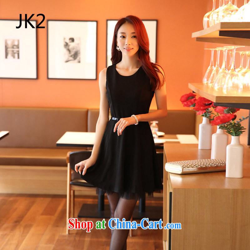 Korean black round-collar, shoulder vest skirt video thin solid skirt large large code dress dresses (with belt) JK 2 9920 black XXXL