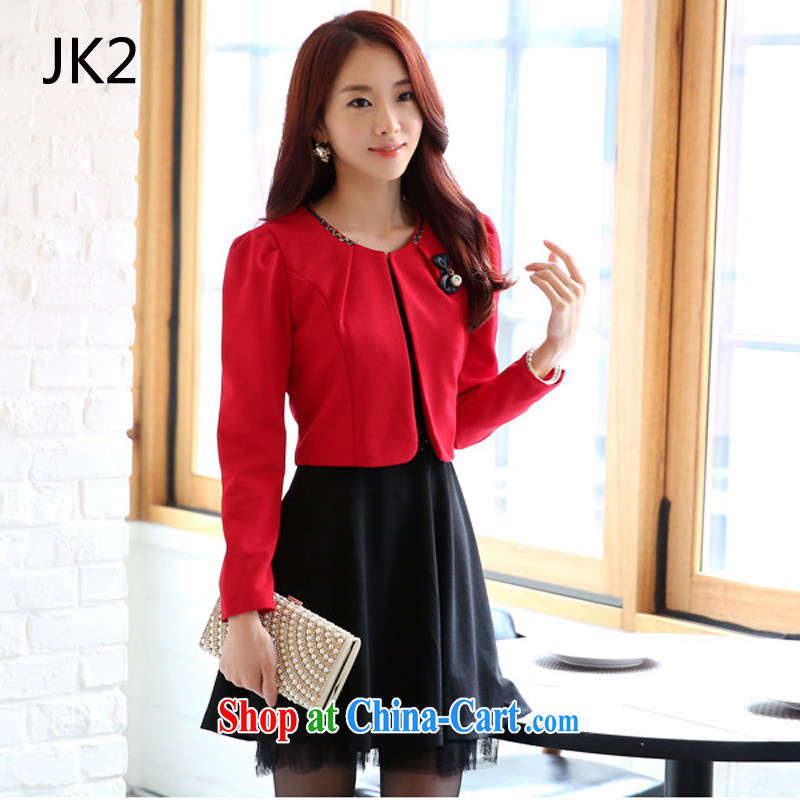 2 JK 91,920 Korean festive small fragrant wind two-piece vest skirt 100 to ground the dress code set red T-shirt XXXL