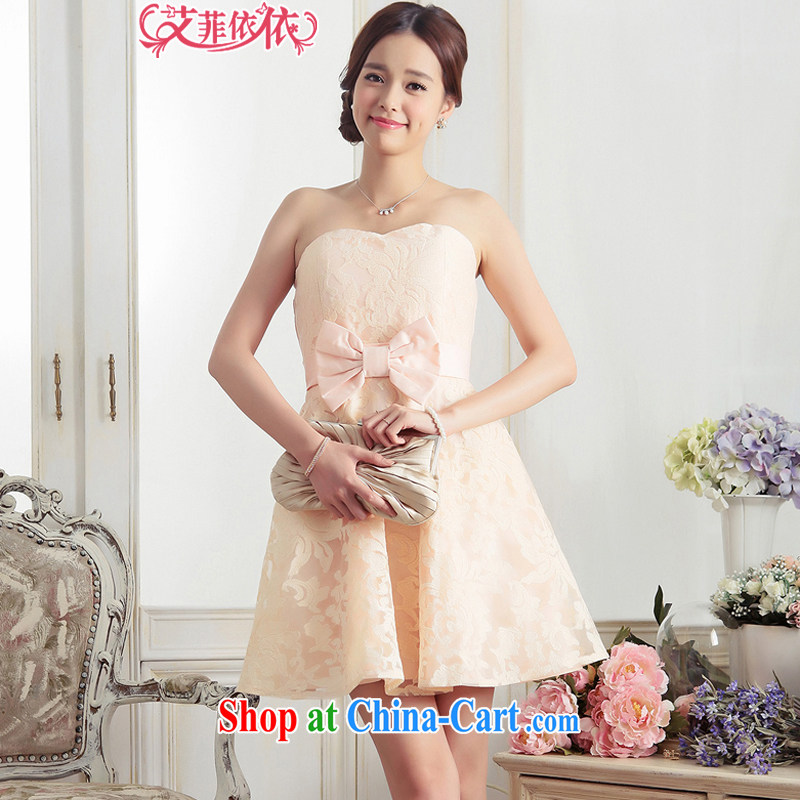 The glued lace bowtie small dress 2015 Korean short wedding banquet bridal bridesmaid wedding water-soluble bows, dress 5585 pink XXL code