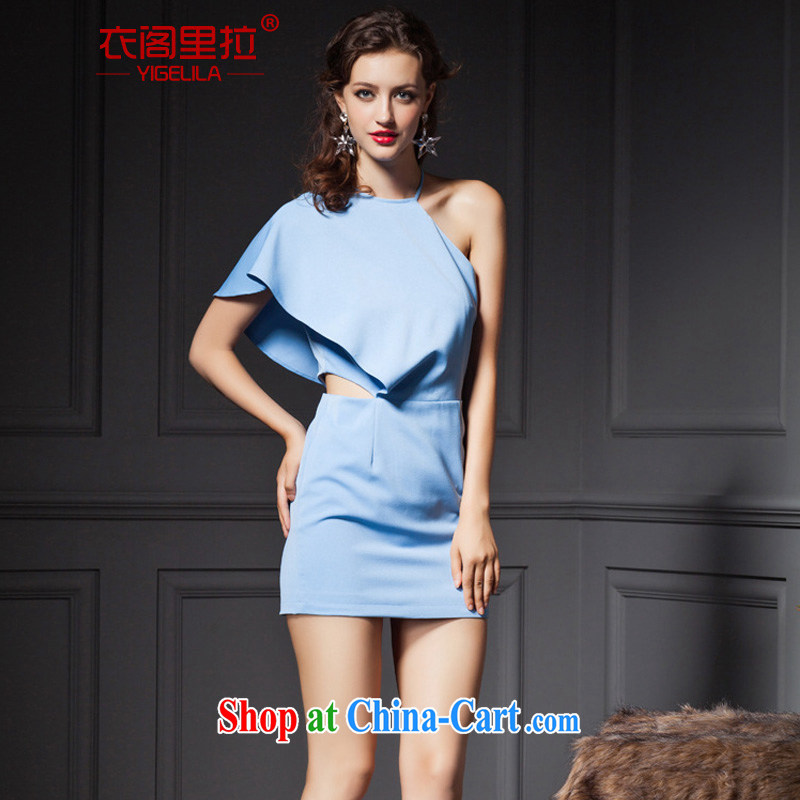 Yi Ge lire name yuan style single straps cultivating graphics thin dress dresses blue 6667 M