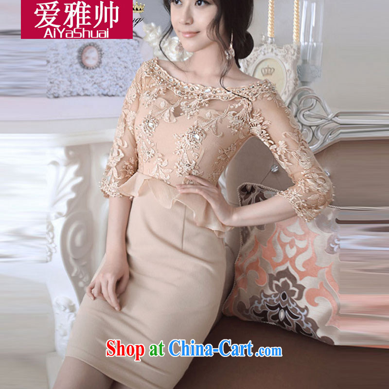 Love Ya handsome 2015 Ching Ching-stars with gold thread embroidered yarn Web parquet drill flouncing skirt dress pattern name and Ye child dresses picture color L