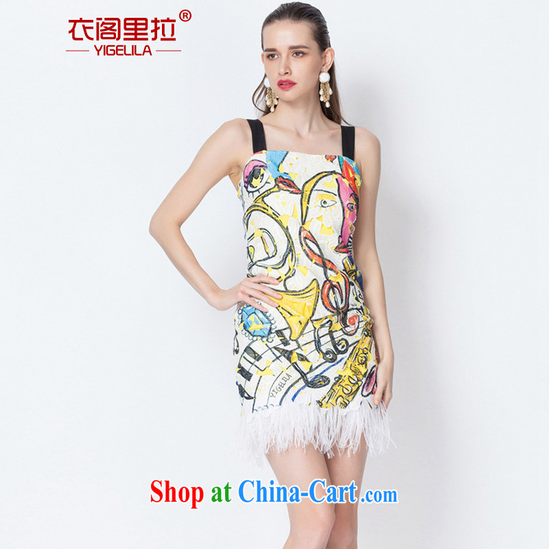 Yi Ge lire name Yuan dress skirt hanging feathered beauty graphics thin dress dresses silhouette stamp 6605 L