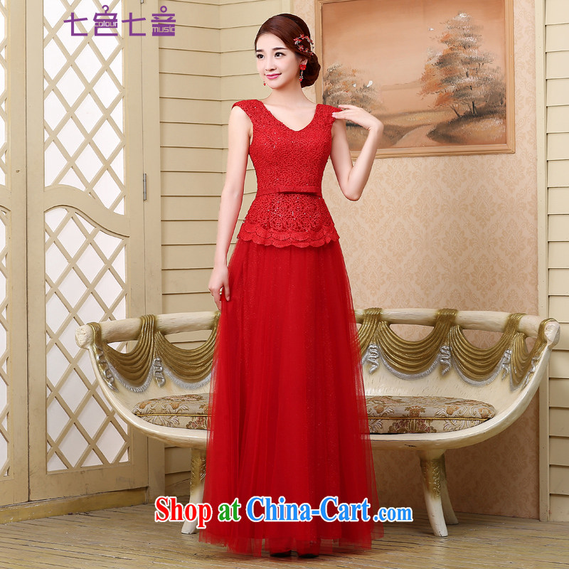 7 color 7 tone 2015 bridal toast clothing Evening Dress new stylish shoulders cultivating long gown wedding L 024 red M