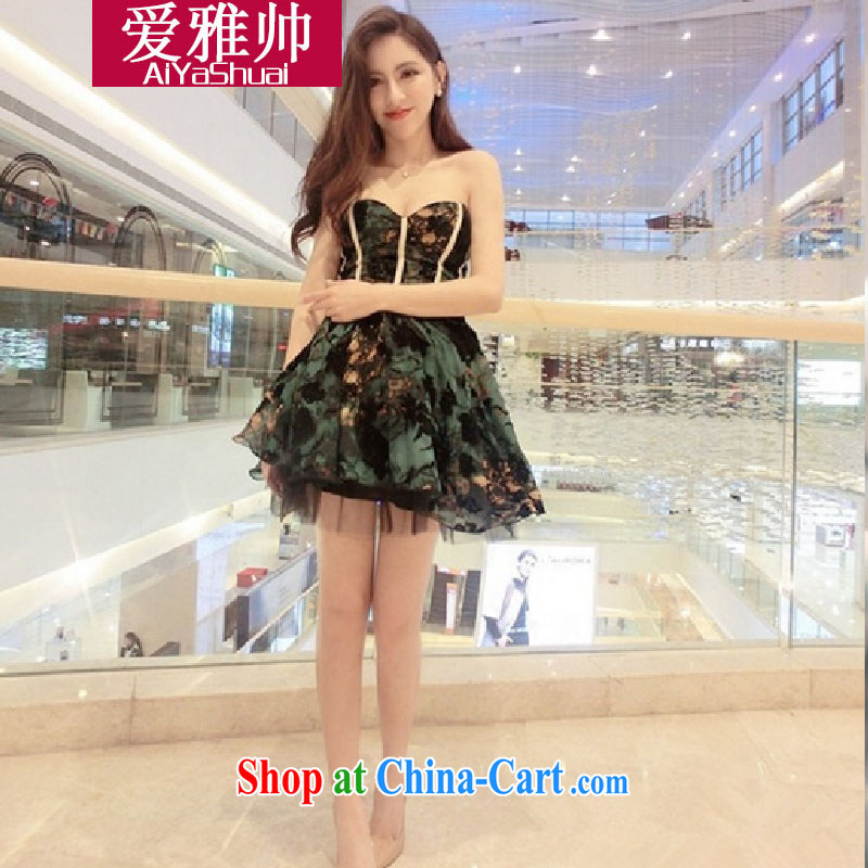 Love Ya 2015 looks new, the high-end high-quality waist bare chest shaggy sexy little dress dresses picture color code