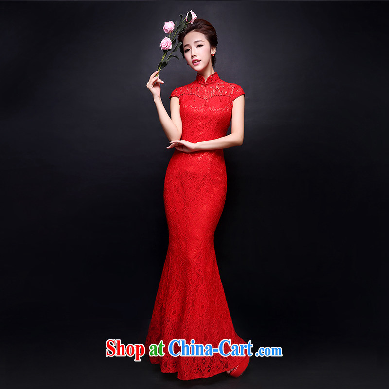 Ms Audrey EU Qi 2015 summer new brides with wedding dresses retro lace bows Service Improvement crowsfoot long red red XL