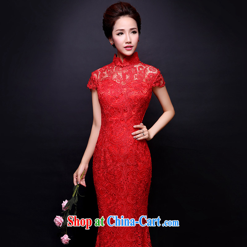 Wei Qi toast serving red lace bridal dresses and stylish long cheongsam crowsfoot wedding dresses new 2015 summer new female Red XL