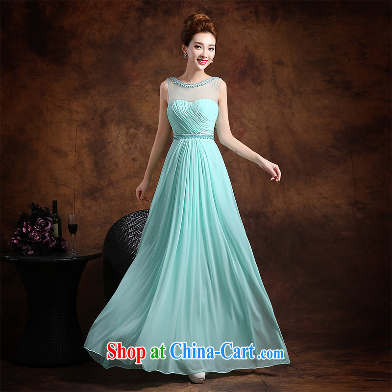 Qi wei summer 2015 new stylish double-shoulder bridesmaid bridal wedding dress long, cultivating Evening Dress moderator evening dress girl blue XXL