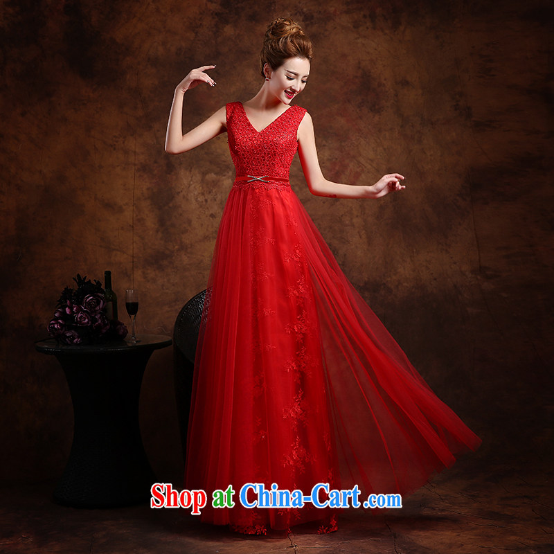 Wei Qi 2015 new summer red marriage wedding dresses for women evening dress evening dress wedding toast serving V deep red XXL